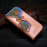 Johnature High Quality Hand Carved Genuine Leather Wallets Women Purse 2020 New Retro Large Capacity Cowhide Wallet Card Holder