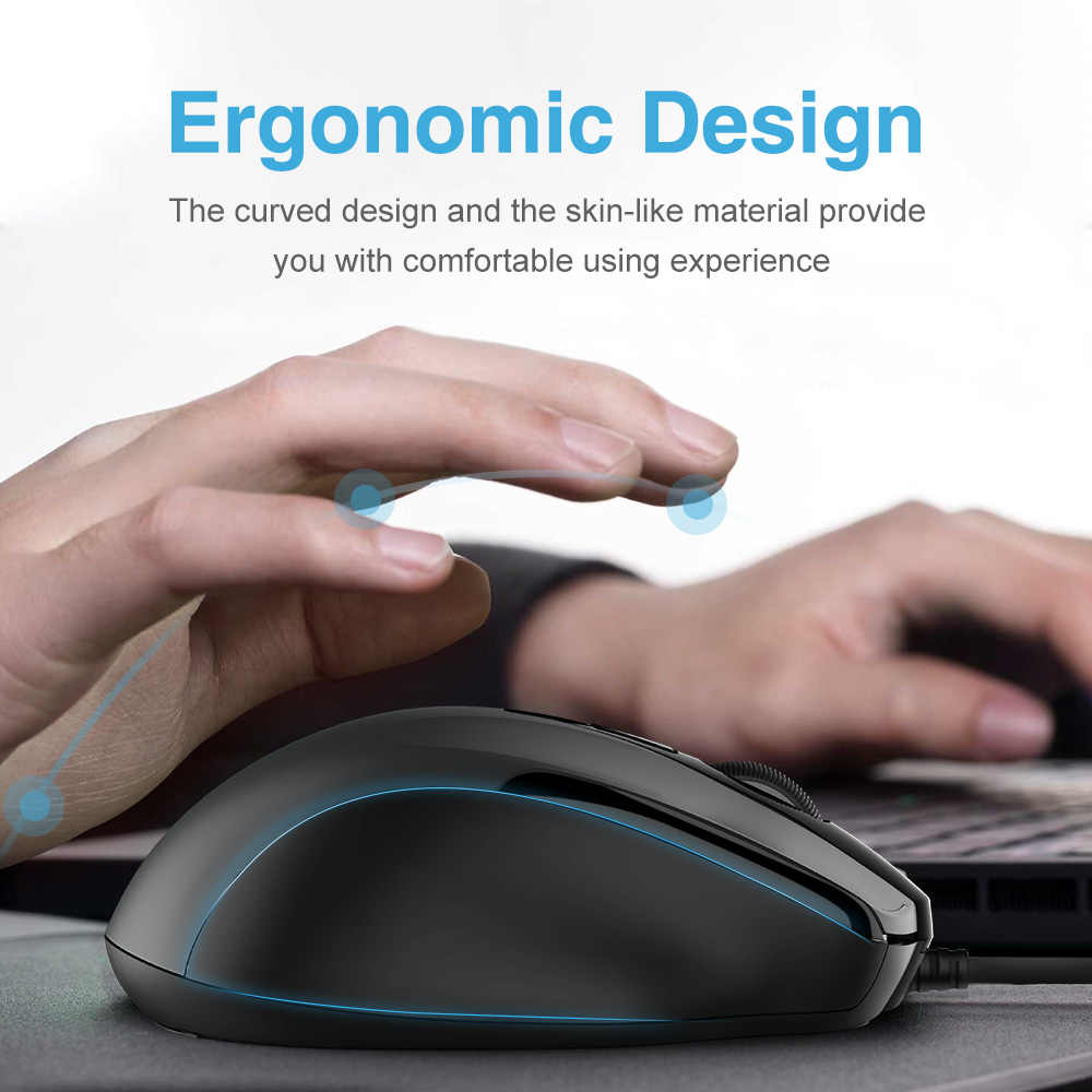 TeckNet Pro S2 souris filaire USB souris pour ordinateur souris 2000DPI 1000DPI souris ergonomique forme 6 boutons souris pour Asus Xiaomi