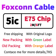 10pcs lot aaaaa quality aluminum mylar sync data cable 2m 6ft usb charging cable for foxconn phone with new packaging 100pcs/Wholesalelots Genuine Original 5ic E75 Chip Foxconn Sync Data USB charger Cable 2M/6FT Cable With green label Original