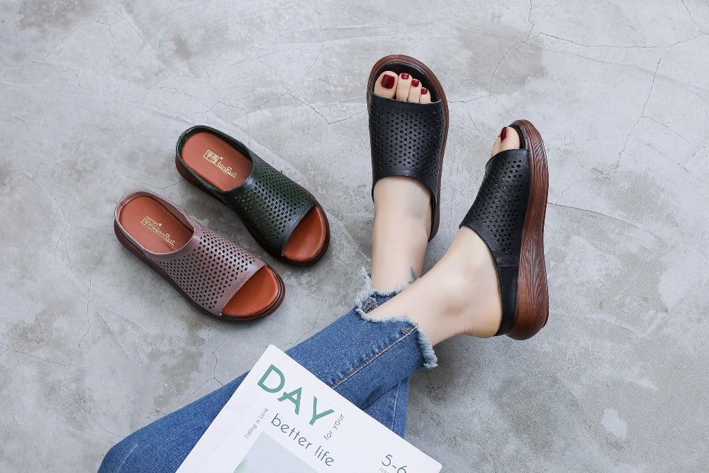 GKTINOO Summer Women Shoes Wedges Slippers Platform Sandals Genuine Leather Handmade Hollow Out Comfortable Women Slides