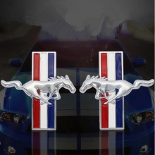 1pair 3D Chrome metal Mustang Running Horse Fender Side badge for mustang decal rear Trunk emblem Decoration sticker car-styling qhcp car styling abs letter sticker rear trunk decklid badge emblem stickers decoration fit for ford mustang 2015 2016 2017 2018