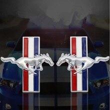 Pegatinas de Metal 3D para coche Logotipo de guardabarros de caballo corriendo Mustang, pegatina de insignia lateral calcomanía de tronco trasero Ford Mustang Milo GT Car Styling