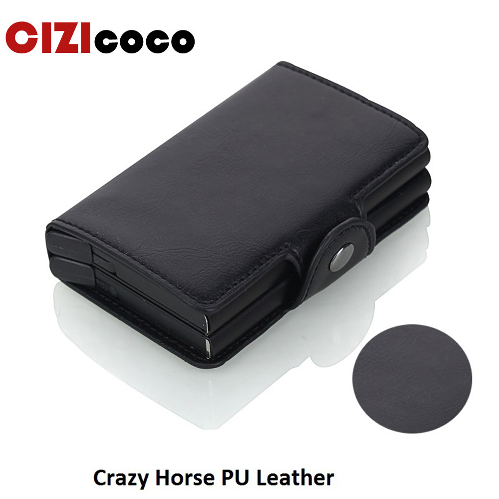 Cizicoco New RFID Crazy Horse PU Leather Mini Wallet Security Information Double Box Aluminum Credit Card Holder Metal Purse