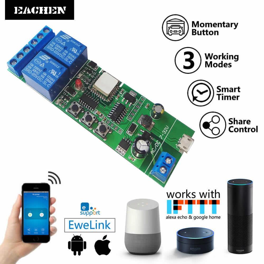 Ewelink Wireless WiFi Smart Home Switch Module WiFi Inching Relay Momentary/Self-Locking/Interlock For Alexa Google Home IFTTT
