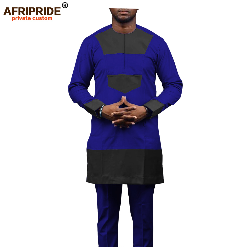 2019 African Men Shirt Suit Traditional Clothing Set Tribal Outwear Casual 2 Piece Wear Dashiki Ankara Set AFRIPRIDE A1916027