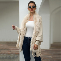women sweater fur cape cardigan Ponchos cashmere poncho with fur winter 2019 new loose Solid plus size Tassal Long cape