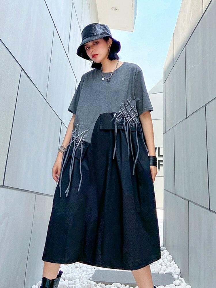 Big-Size Tassels Dress New Fit-Fashion Loose Spring Summer Women EAM Round-Neck Pattern-Printed