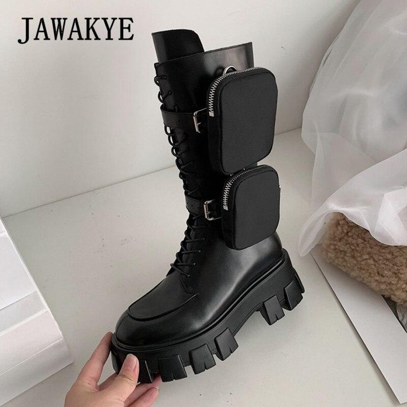 JAWAKYE Nieuwe Dikke bodem mid calf korte laarzen Vrouwen lace up Rits met pocket Lange Laarzen Zwart Winter motorlaarzen vrouw - 2
