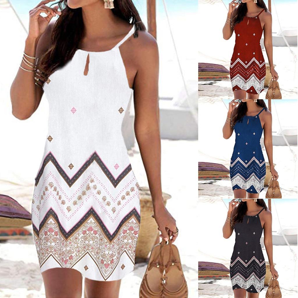 Women Halter Neck Boho Print Sleeveless Casual Mini Beachwear Dress Sundress Vestidos De Verano Summer Dress 2019 Vestidos