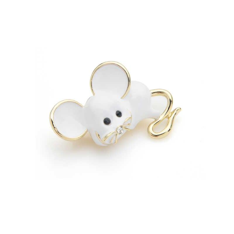 Wuli & bebê orelha grande bonito mouse broche pinos para mulheres e homens branco presente de ratos 2019 nova moda broches jóias
