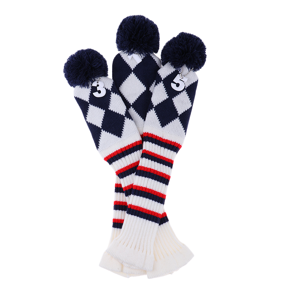 3Pcs Golf Knitted Headcovers Head Covers Vintange Pom Pom Long Neck Sock Covers 1-3-5 For Driver & Fairway Woods