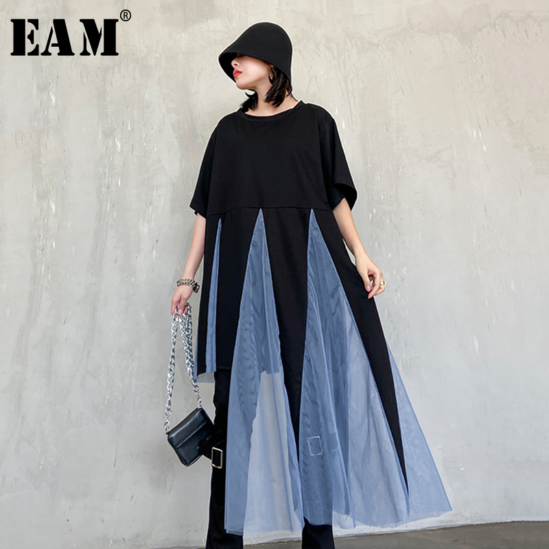 [EAM] Women Black Mesh Asymmetrical Stitch Big Size T-shirt New Round Neck Half Sleeve  Fashion Tide  Spring Autumn 2020 1R792
