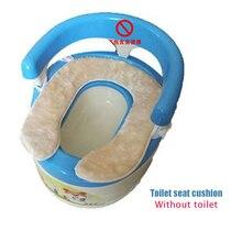 2PCS Multi-Style Children's Toilet Seat Cushion Thick Warm Plush Cotton Toilet Seat Ring Tether/Paste Toilet Mat Without Toilet