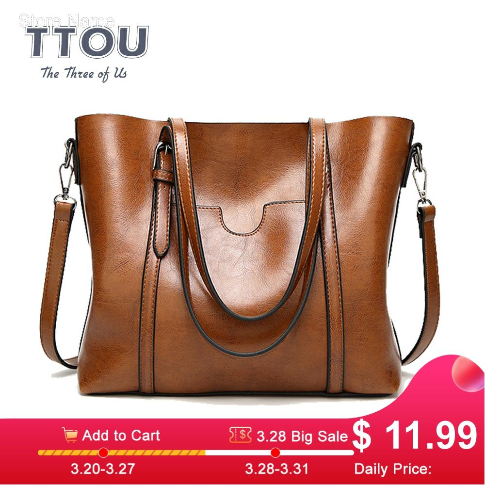 TTOU Fashion Large Capacity Women Tote Bag Quality Leather For Female Shoulder Bag Leisure Women Handbag Lady's Messenger Bags