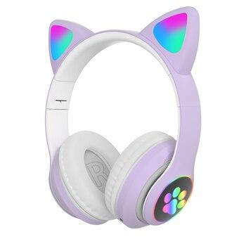 Flash Light Cute Cat Ears Bluetooth Wireless Headphone with Mic Can control LED Kid Girl Stereo Music Helmet Phone Headset Gift 9
