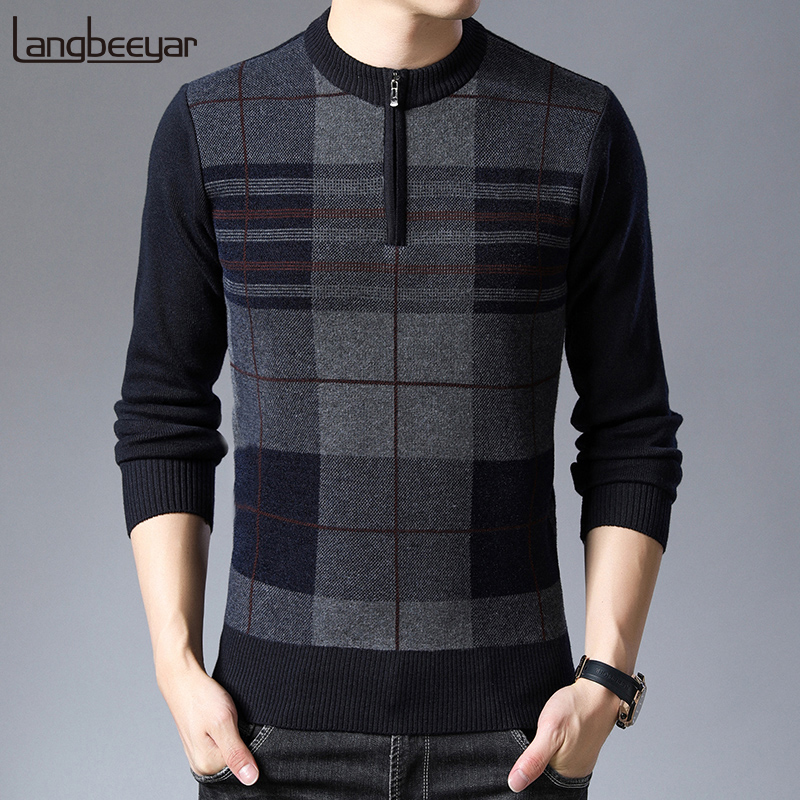 2019 New Fashion Brand Sweaters Mens Half Zip Pullover Slim Fit Jumpers Knit Woolen Winter Korean Style Casual Clothing Men