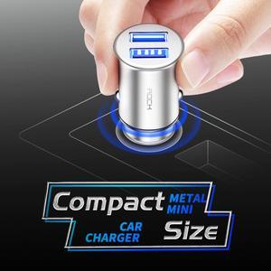 Image 2 - Chargeur de voiture universel en alliage de Zinc de haute qualité de chargeur de voiture en métal dusb de la roche 4.8A double pour des téléphones portables