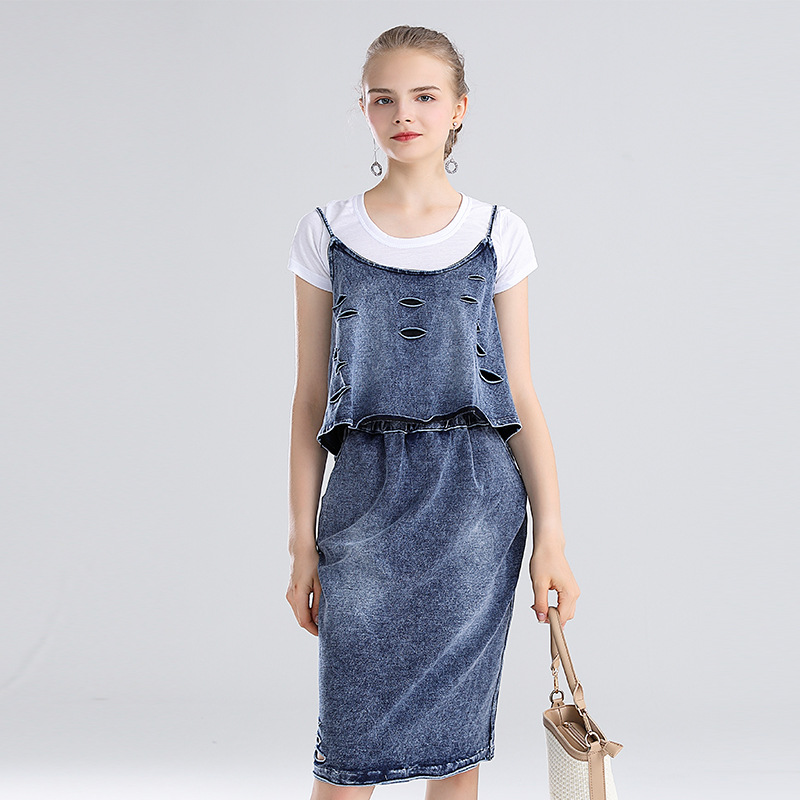 Photo Shoot 2019 Ozhouzhan Summer Wear New Style T-shirt + Joint Lace With Holes Camisole + Slim Fit Skirt Three-piece Set-