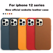Official Geniune Leather Case for iPhone 12 Pro 12 Mini Cases Luxury 1:1 Wireless Charge Cover for iPhone 12 Pro Max Leather