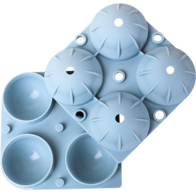 Moule à boule de glace en Silicone, 4 grandes sphères rondes grand moule à glaçons, fabricant de boules de glace à Whisky, plateaux à glaçons réutilisables avec couvercle bleu