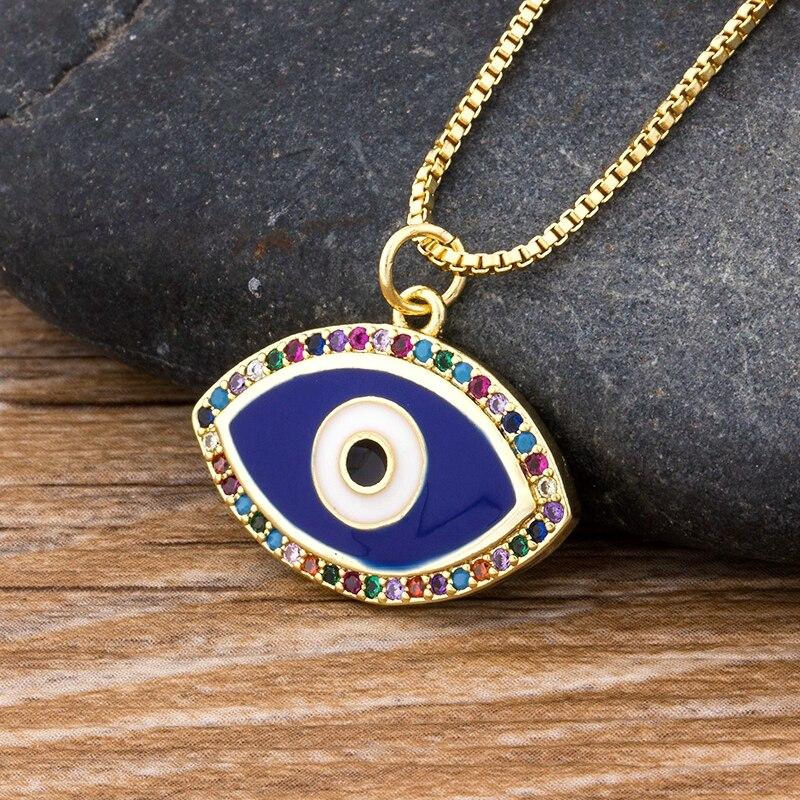 Luxus Blau Zirkonia Evil Eye Halskette Für Frauen Regenbogen Kristall Strass Anhänger Halskette Beste Party Geburtstag Geschenk