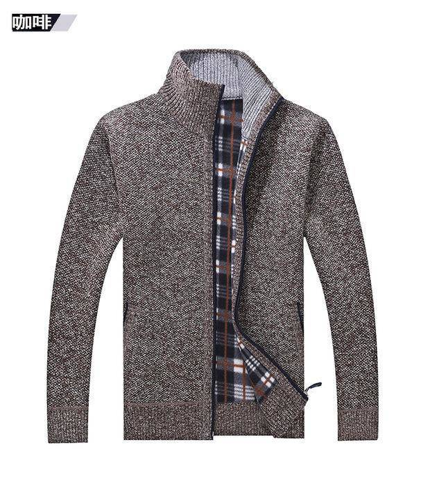 Thick Men's Knitted Sweater Coat Off White Long Sleeve Cardigan Fleece Full Zip Male Causal Plus Size Clothing For Autumn Spring 6