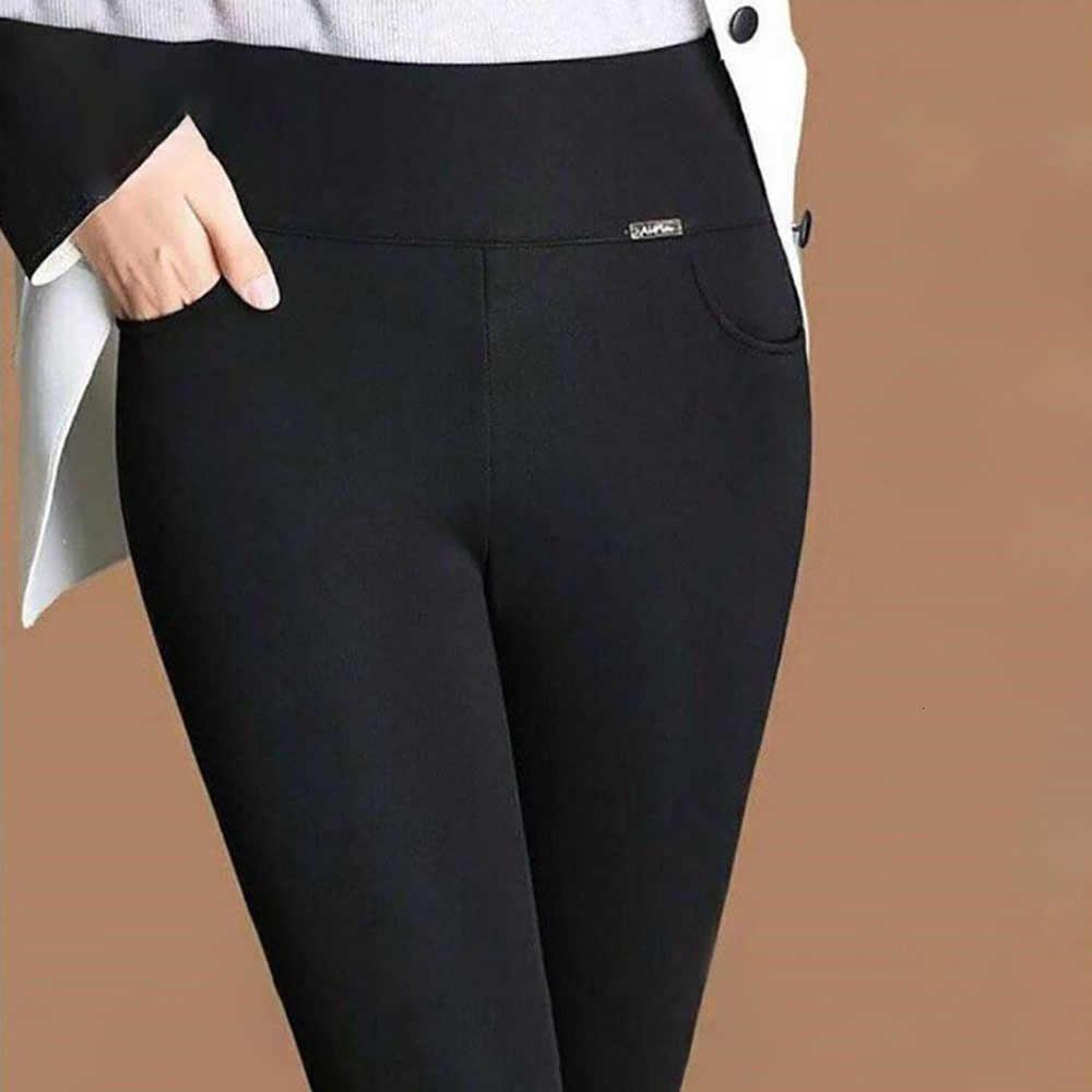ผู้หญิงฤดูหนาวกำมะหยี่หนา Underpant หนาสูงเอวยืดหยุ่นใหญ่ขนาด Bound ฟุตกางเกงดินสอกางเกงฟิตเนสออกกำลังกาย Leggings