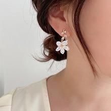 Yaologe pétala folhas planta inteira brincos branco puro elegante flor brincos do parafuso prisioneiro belas férias festa jóias para mulher