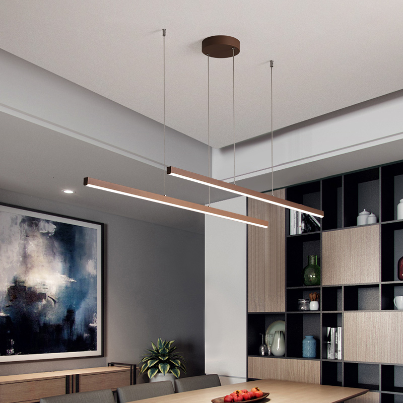 Brown Color Led Pendant Lights For Kitchen Dining Room Office Lighting Modern Nordic Lamp Pendant Lamp Hanging Lights Fixtures