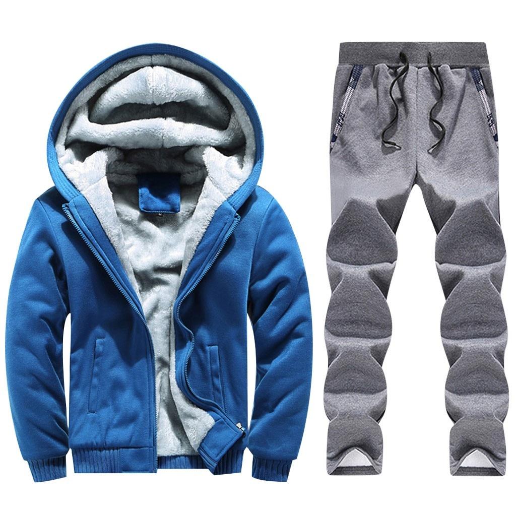 Mens Clothing Men Winter Hoodie Warm Thicken Zipper Fur Inside Sweater Outwear Coat Pants Sets спортивный костюм мужской