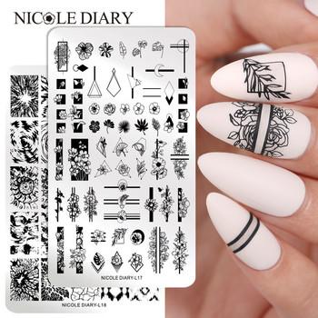 NICOLE DIARY wzór kwiatowy tłoczniki do paznokci obraz malarstwo szablony do paznokci szablony narzędzia do stemplowania paznokci tanie i dobre opinie CN (pochodzenie) 14 5cm * 9 5cm Template NDN46228 Stainless Steel 1 Pc Tłoczenie