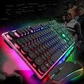 Новая Профессиональная Проводная игровая клавиатура  мышь  набор  манипулятор  радуга  кристаллическая крышка  подсветка  компьютерная кла...