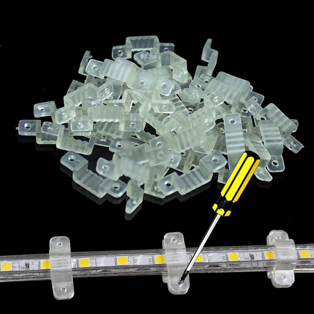 100/50 LED Strip Fastener Clips Silicone Fixer Clips Bracket Holders For 5050 Strip Light 10mm Mount Flexible Mounting Fixer