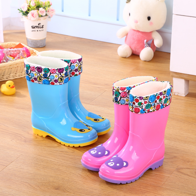 New Rain Boots Kids Boys Rubber Rainboot Baby Girls Waterproof Boot Pvc Warm Children Water Shoes Cartoon Four Seasons Removable