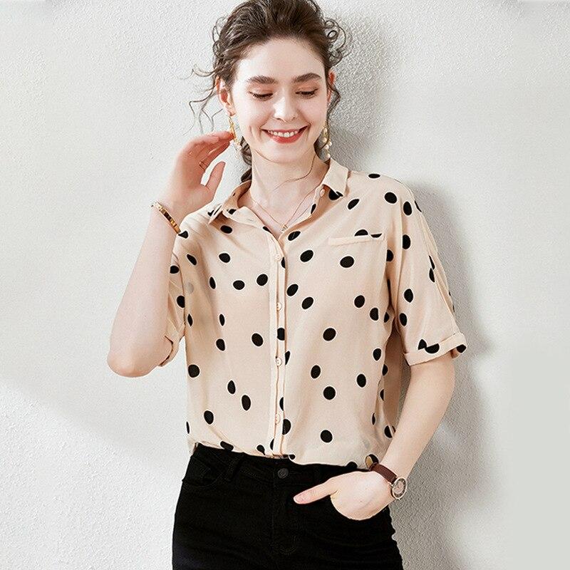 Oversized Silk Blouses Summer Short Sleeve Casual Polka Dot Elegant Office Ladies Tops Loose Women Single Breasted Shirt 2020