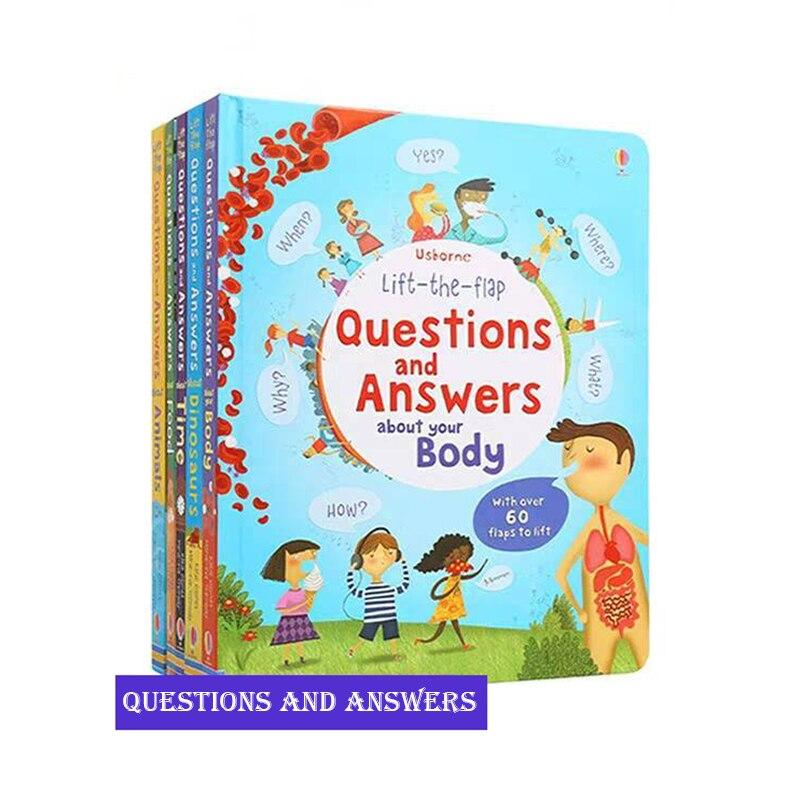 5 Книг Usborne Peep Inside вопросы и ответы поднимают заслонки английские образовательные 3D книги для чтения детей книжные школьные принадлежности