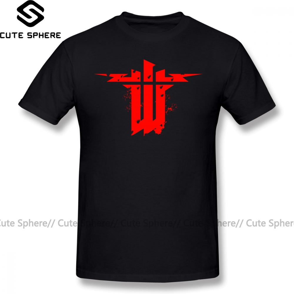 Wolfenstein T Shirt Wolfenstein The New Order T-Shirt Classic Cotton Tee Shirt Plus Size  Male Printed Awesome Tshirt
