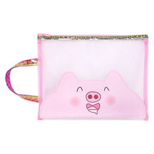 A4 Cute Pig Grid Zipper File Holder Girl Mesh Bags Portable Test Paper Bag Pencil Case Student Stationery Creative Gift