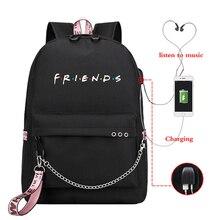 Mochila Friends/розовый рюкзак для женщин, рюкзаки для ноутбука, школьные сумки с Usb зарядкой для подростков, девочек, мальчиков, путешествий, Mochila