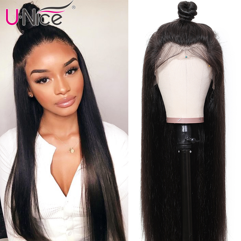 Unice Hair 360 Lace Frontal Wig 180 Density Cheap Brazilian Straight Wigs With Baby Hair Lace Front Human Hair Wigs Pre Plucked