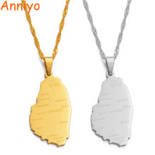 Anniyo ST. Vincent Map With City Name Pendant Thin Chain Necklaces Silver/Gold Color Saint Vincent Maps Jewelry Gifts #121321(China)