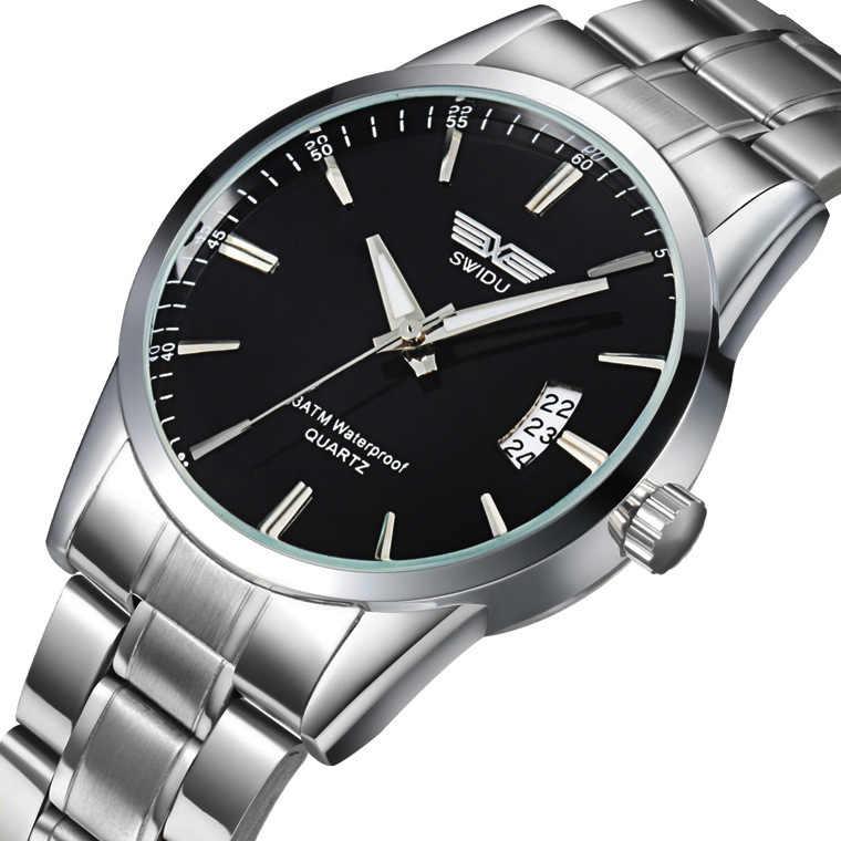 Reloj de cuarzo de acero inoxidable SWIDU para hombre, reloj de calendario de moda