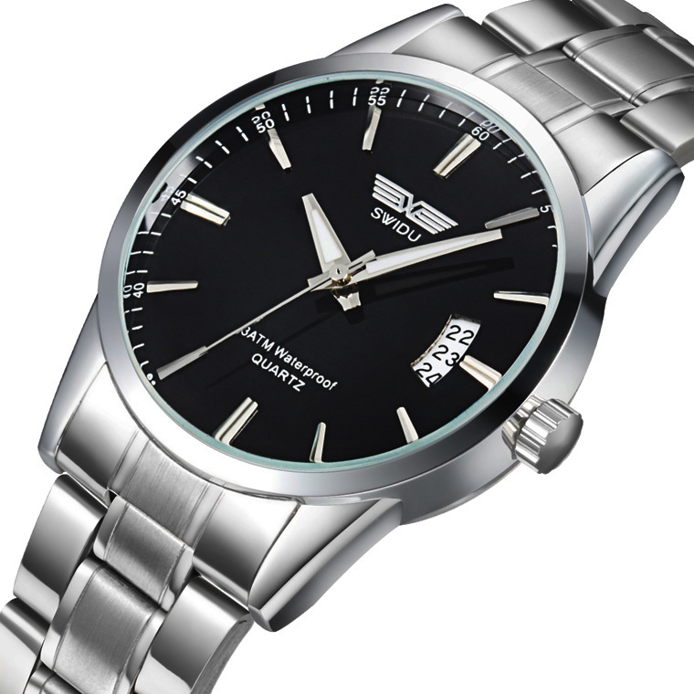 SWIDU Men's Quartz Stainless Steel Watch, Fashion Calendar Watch