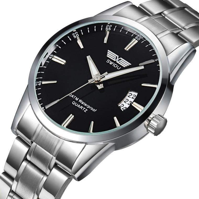 SWIDU Men's Quartz Stainless Steel Watch, Fashion Calendar Watch