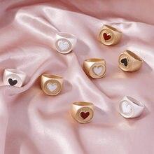 Bagues Vintage en émail or mat pour femmes, anneau en forme de cœur épais, en noir et rouge, à la mode, nouvelle collection 2020