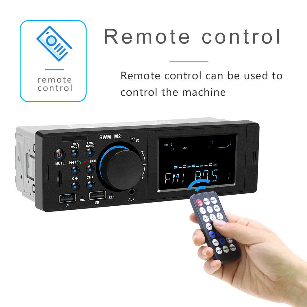 1 Din รถสเตอริโอ MP3 เครื่องเล่นเพลงวิทยุ FM Bluetooth 4.0 สนับสนุน TF Card AUX Dual USB ชาร์จสำหรับ iOS /Android 1din Autoradio