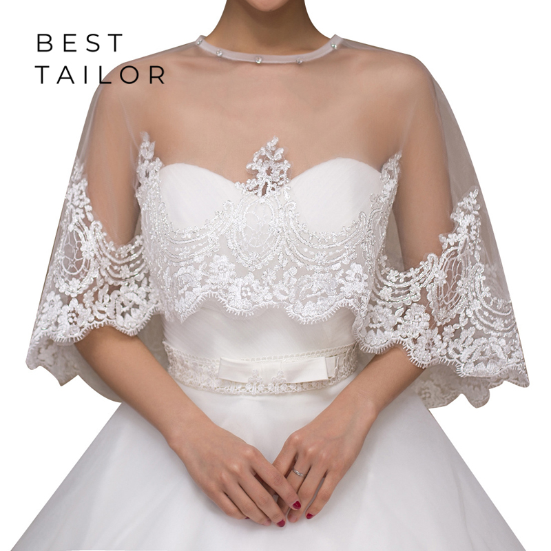 Lace White Red Wedding Bolero Cloak Wraps Beaded Neck Applique Bridal Jacket for Wedding Dress Wedding Accessories Mariage femme