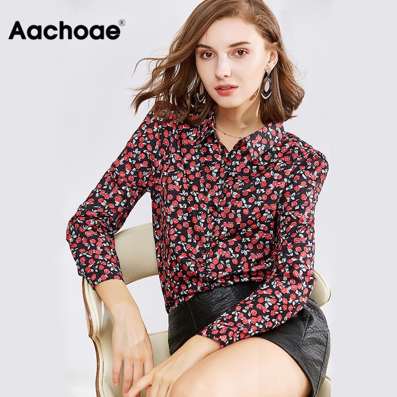Blouse Women Long Sleeve 2020 Turn Down Collar Floral Print Shirt Casual Tunic Top Elegant Blouse Plus Size Blusas Mujer