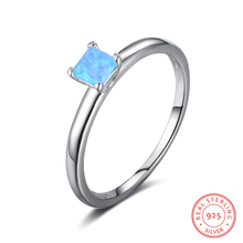 Simple 925 Sterling Silver Rings for Women Small Square Blue Pink Opal Stone Ring  Female Wedding Rings Engagement Gifts