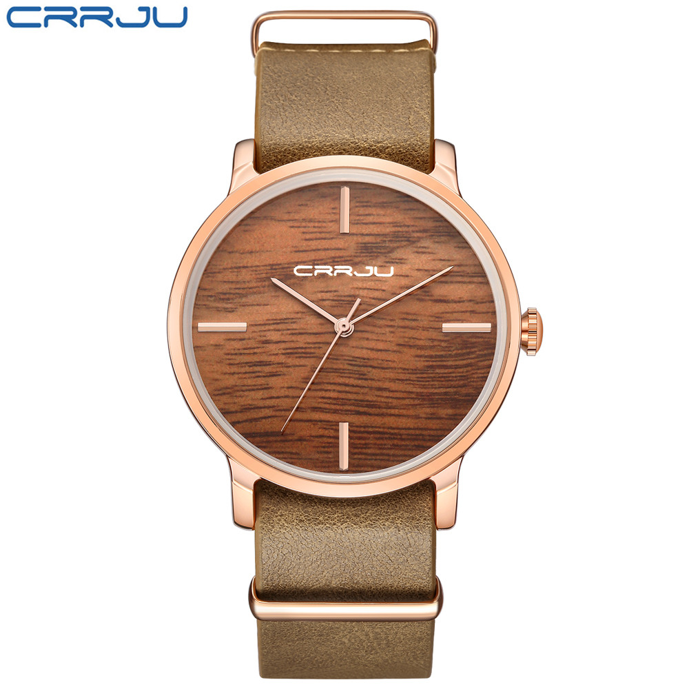 CRRJU Top Brand Color Walnut Wood Luxury Watch For Men & Women Fashion Sport Causal Gift Wooden Color Quartz  Analog Wristwatch